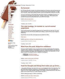 Blog layout with ice cream bar
