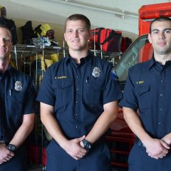 Brian Regan, Kenny Campos and Tyler Hoff were the first new hires for the Redondo Beach Fire Department in nearly four years. Photo credit Nicole Mooradian.