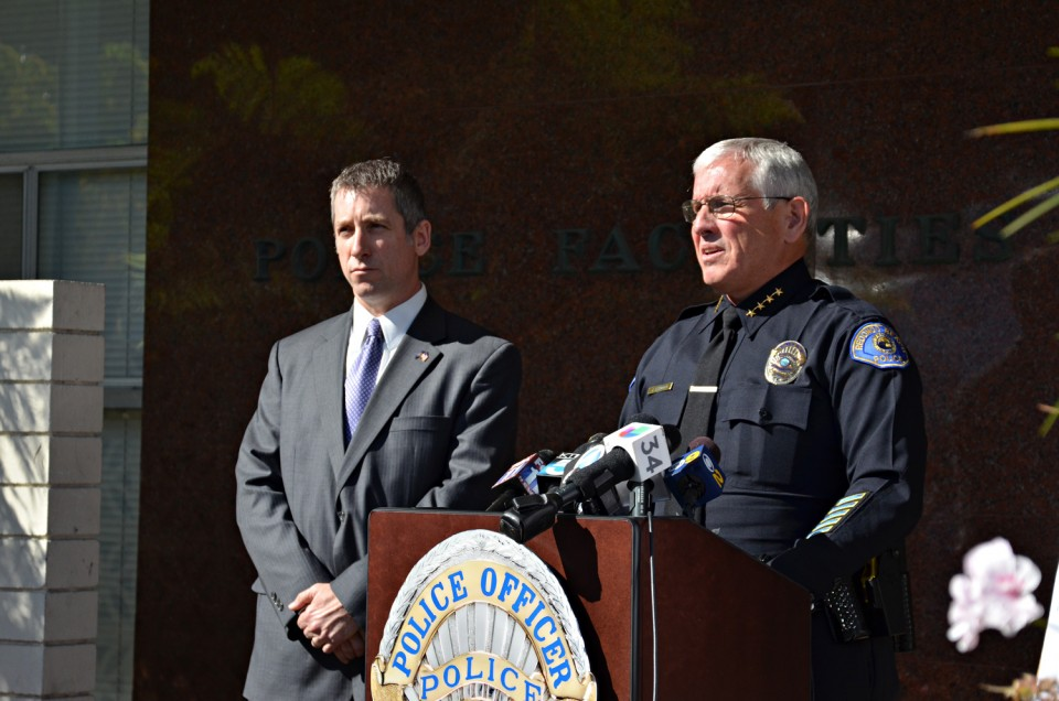 With an FBI agent at his side, Redondo Beach Police Chief Joe Leonardi asks members of the public who might know where Erick Julian Ortega is to turn him in. Ortega is suspected of fatally shooting Bobby Reynolds in North Redondo Beach last June.