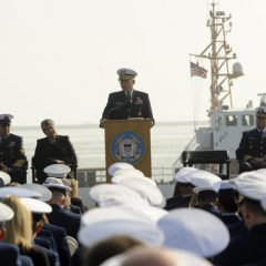 Adm. Robert J. Papp, commandant of the Coast Guard, addresses attendees of the memorial service for Senior Chief Petty Officer Terrell Horne at Reservation Point, San Pedro, Calif., Dec. 8, 2012. Credit US Coast Guard Petty Officer 2nd Class Seth Johnson