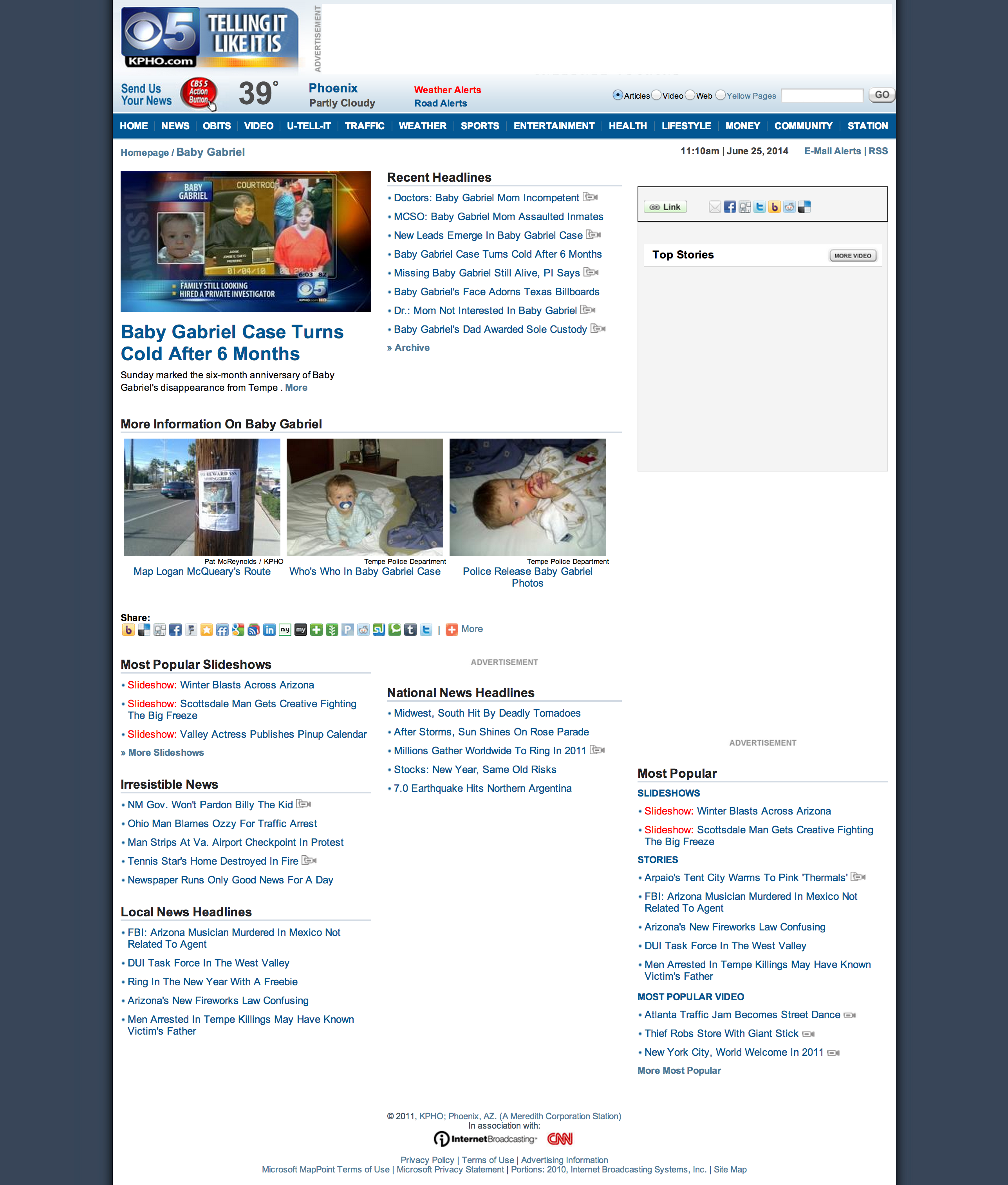 Screenshot from archive.org of special section on KPHO.com dedicated to baby Gabriel Johnson.