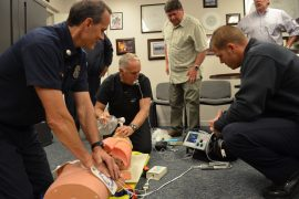 Redondo Beach firefighters practice a new CPR protocol that aims to increase the survival rate of cardiac arrest. Photo credit Nicole Mooradian.