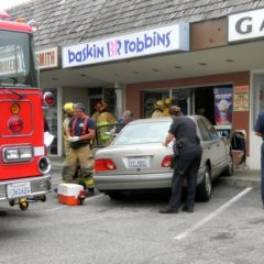 Fire crews respond to a crash at Baskin-Robbins in Riviera Village. Photo credit Nicole Mooradian.