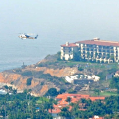 A helicopter arrives at Terranea Cove in Rancho Palos Verdes to remove a man from the beach. Photo credit Ian Bisco.