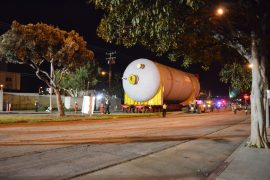 Escorted by the Redondo Beach Police Department, Chevron transports the first two coke drums from Mole B to a holding zone near the corner of Pacific Coast Highway and Herondo Street. Photo credit Nicole Mooradian.