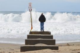 High surf hits Redondo Beach after an early March storm. Photo credit Nicole Mooradian.